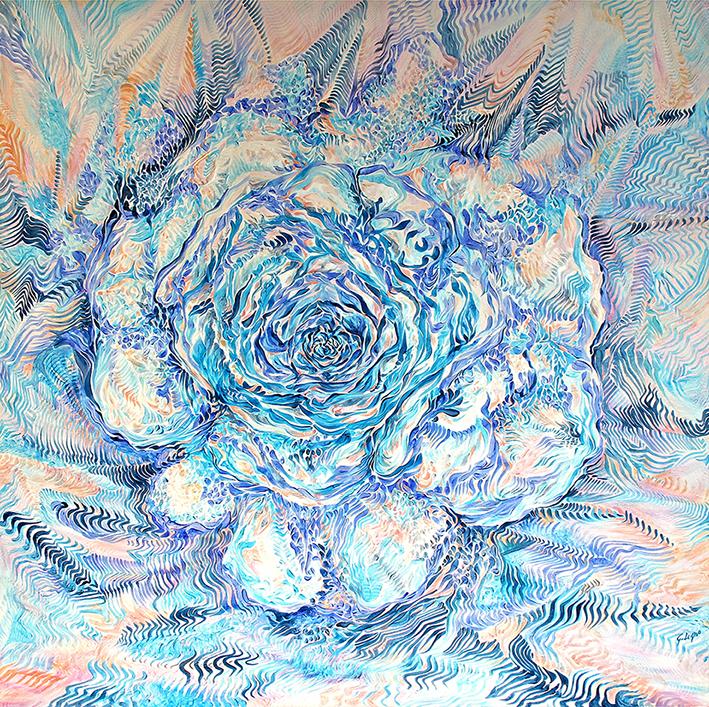 14) Rosa mundi. Voci dal regno del cuore - 2007 Acrilico su tela. cm100x100