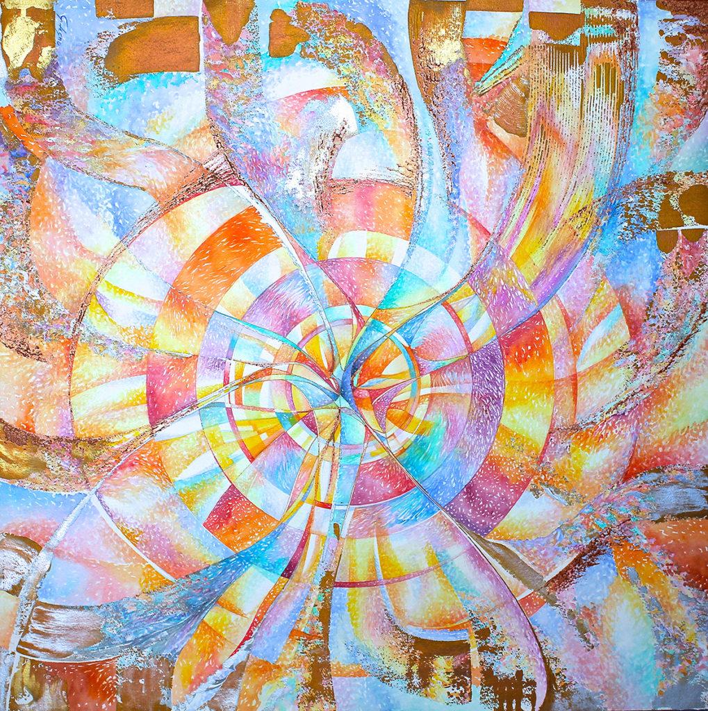 8) CONCERTO IN SOL MAGGIORE-2016-Acquerello e vernici su tavola 100x100