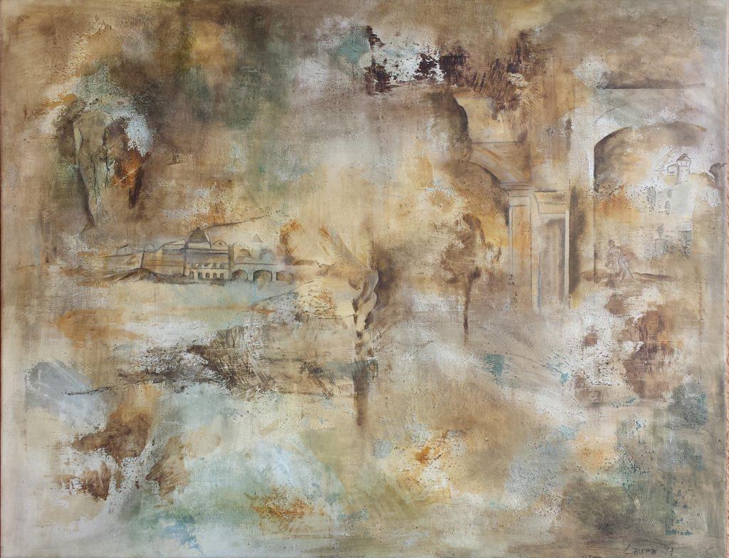 Antichi ricordi cm, 90 x 69,5 acrilici e polvere di vetro su tela