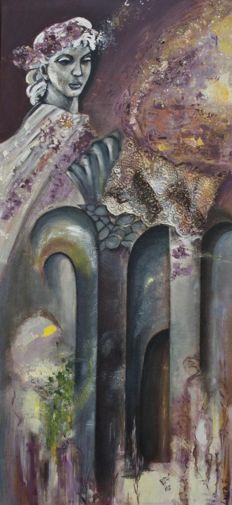 Trasformazione 1 cm. 145 x 55 acrilici, gesso, stoffa su tela