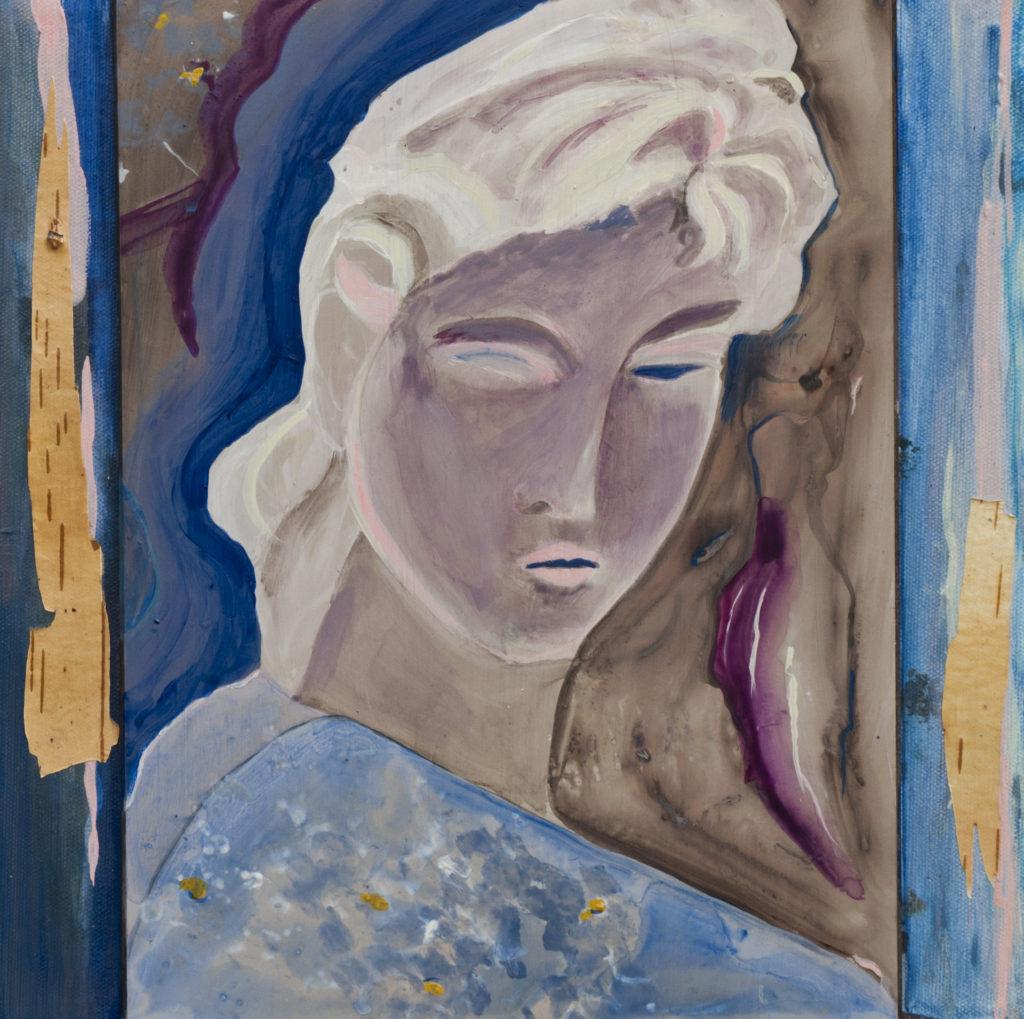 Trasformazione blu cm. 31x31 Acrilici su legno
