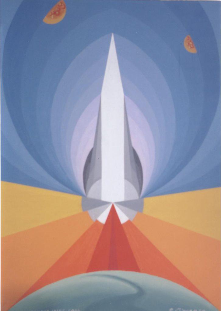 'Astronave Iride', acrilico su tela, cm 50x70, 2004 € 3.200