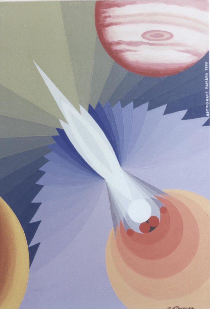 'Astronave Tamara', olio su tela, cm 50x70, 1999 € 3.000