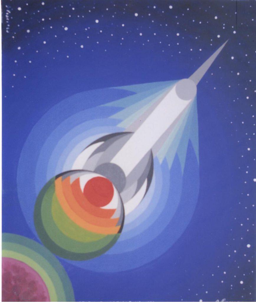 'Stazione spaziale M2', olio su tela, cm 50x60, 1971 2.800